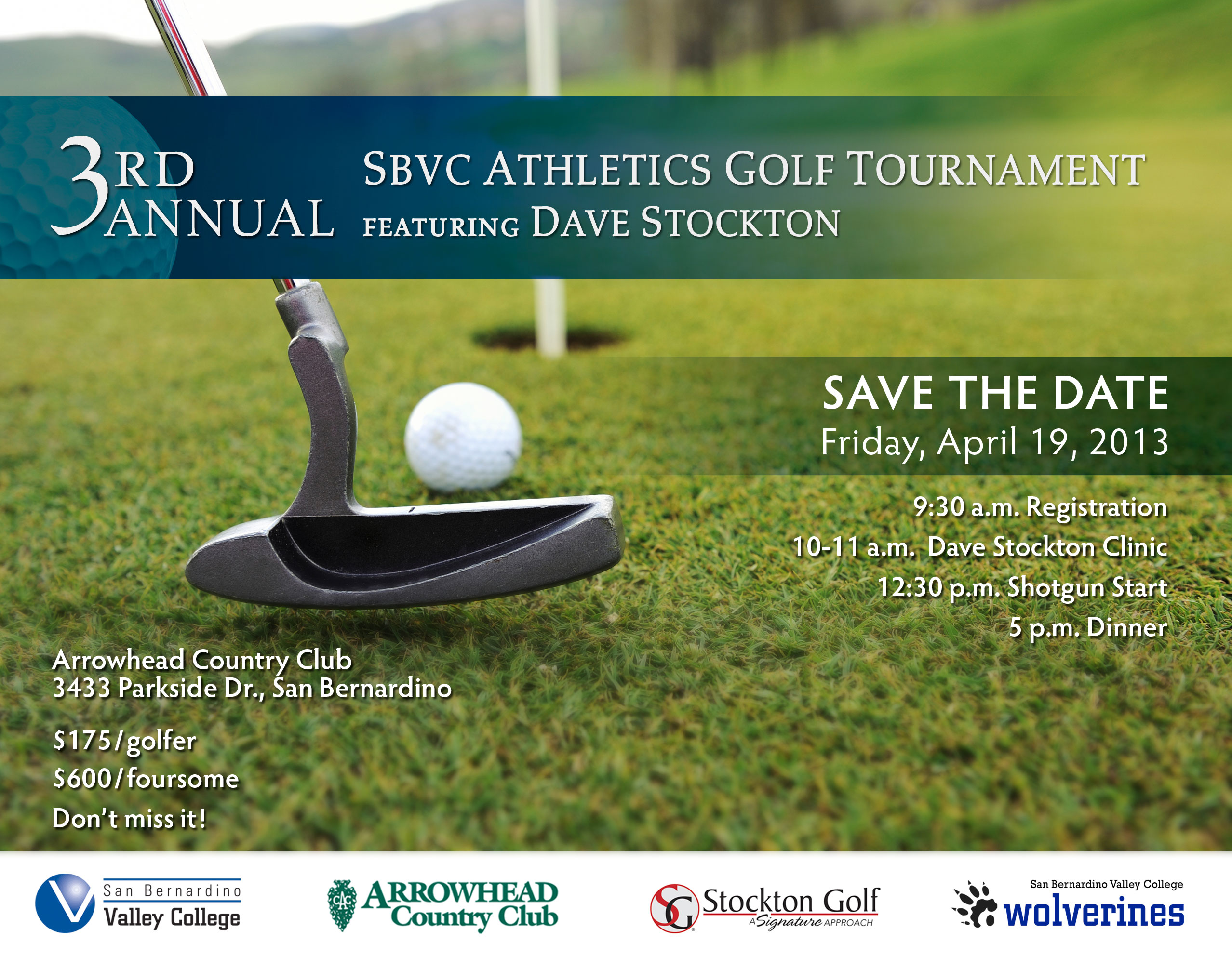 Save the Date! April 19th for the SBVC Golf Tournament